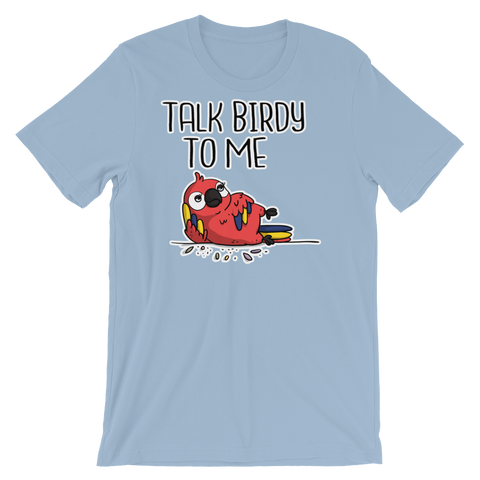 funny macaw parrot shirt blue