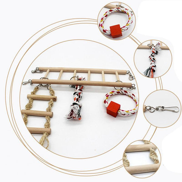 Descriptive bird ladder toy image with various toys attached