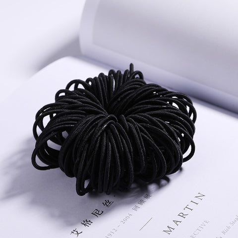 100psc Hair Bands Black