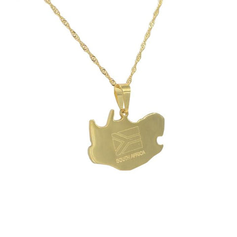 South Africa Gold Map Outline Pendant Necklace - Nation Love
