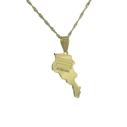 Armenia Gold Map Outline Pendant Necklace