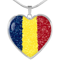 Romanian Flag Luxury Heart Necklace - Nation Love