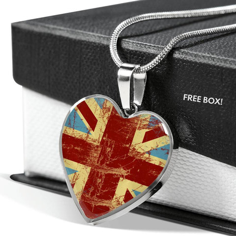 British Flag Luxury Heart Necklace - Nation Love