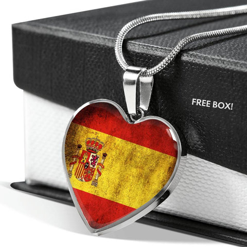 Spanish Flag Luxury Heart Necklace - Nation Love