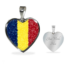 Romanian Flag Luxury Heart Necklace with custom engraving - Nation Love