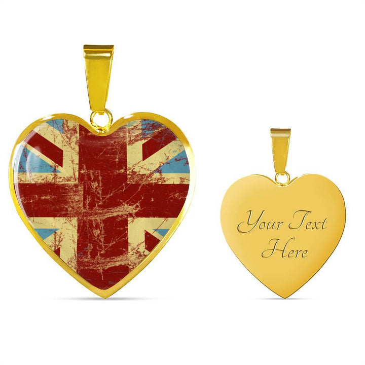 British Flag Luxury Heart Necklace with Engraving- Nation Love