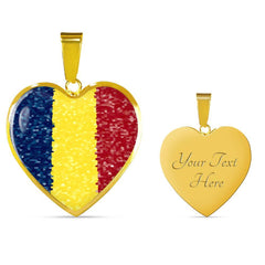 Romanian Flag Luxury Heart Necklace with Engraving and 18k gold finish - Nation Love