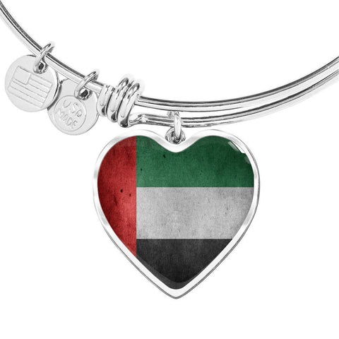 United Arab Emirates Flag Heart Charm silver