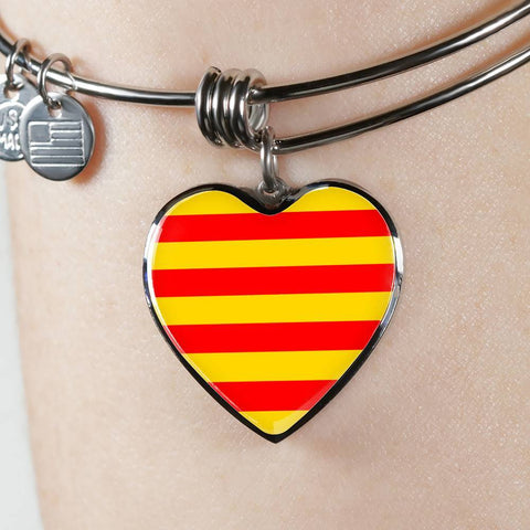 Catalonian Flag Heart Charm silver