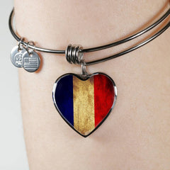 French Flag Heart Charm