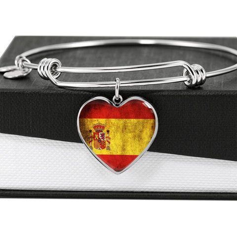 Spanish Flag Heart Charm silver