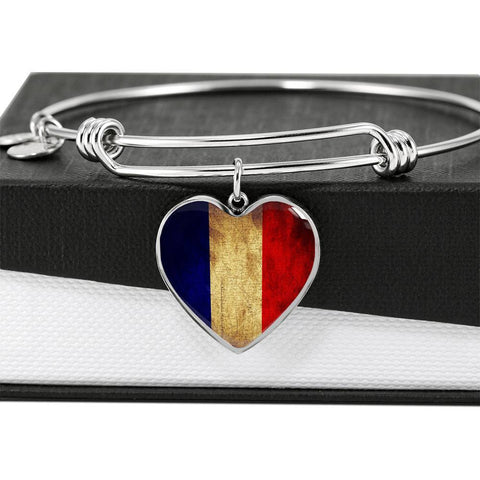 French Flag Heart Charm silver