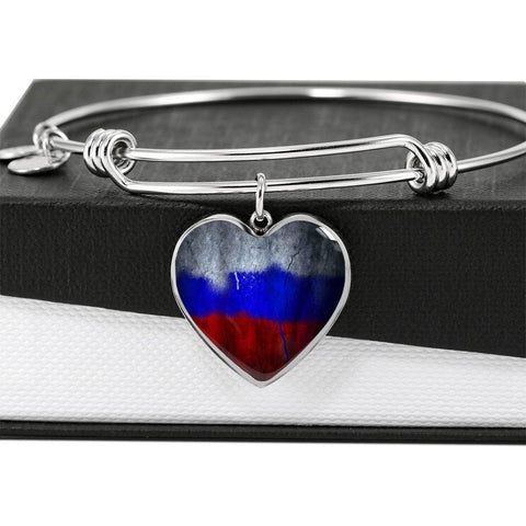 Russian Flag Heart Charm silver