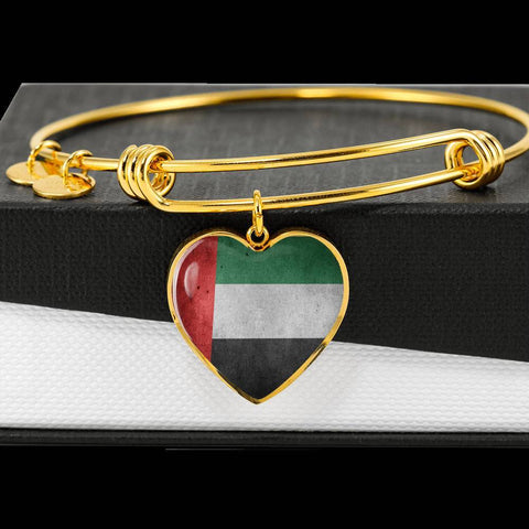 United Arab Emirates Flag Heart Charm golden