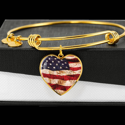 American flag heart charm gold