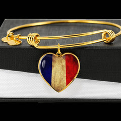 French Flag Heart Charm gold