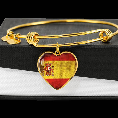 Spanish Flag Heart Charm gold