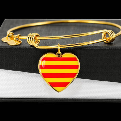 Catalonian Flag Heart Charm gold