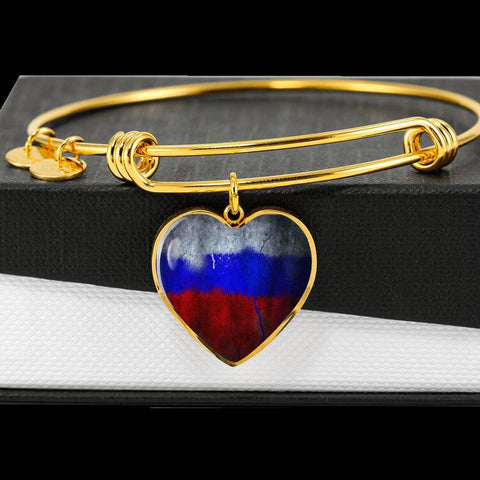 Russian Flag Heart Charm gold