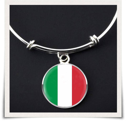 Italian Flag Bangle Bracelet - Nation Love