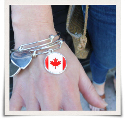 Canadian Flag Bangle Bracelet