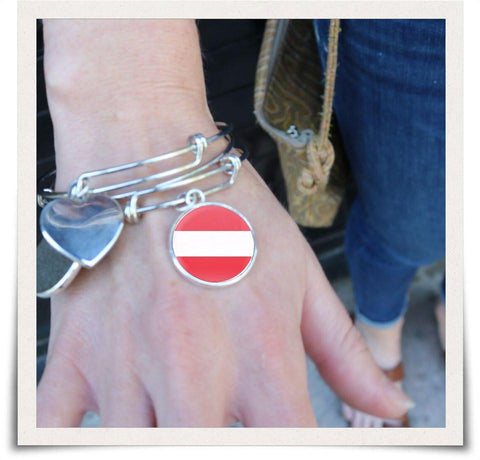 Austrian Flag Bangle Bracelet
