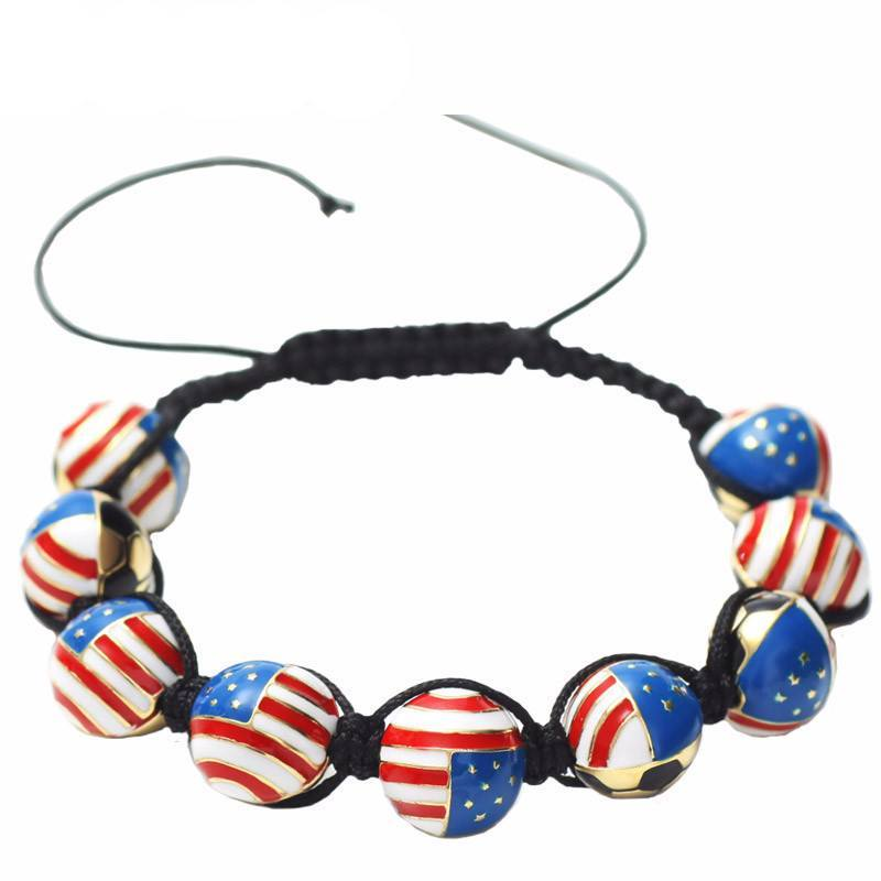 American Soccer Ball Macrame Bracelet - Nation Love