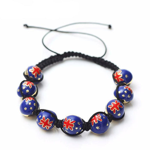 Australian Soccer Ball Macrame Beaded Bracelet - Nation Love