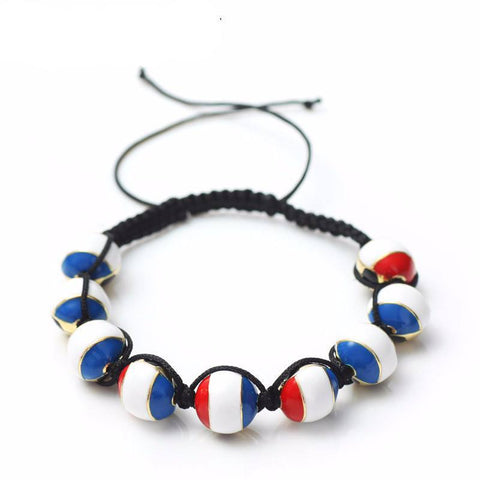 French Soccer Ball Macrame Beaded Bracelet - Nation Love