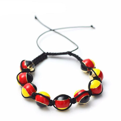 German Soccer Ball Macrame Beaded Bracelet - Nation Love