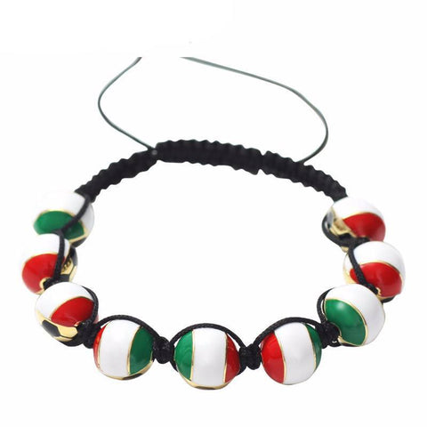 Italian Soccer Ball Macrame Beaded Bracelet - Nation Love