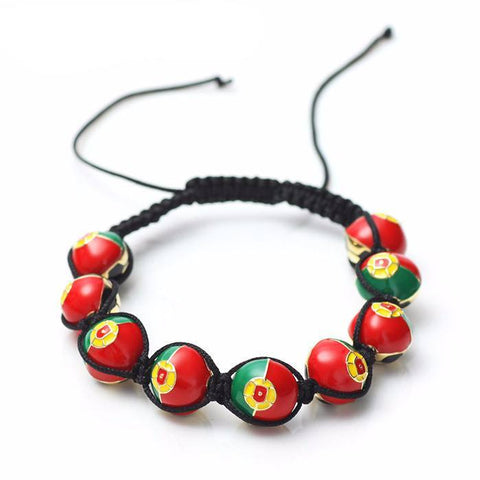 Portuguese Soccer Ball Macrame Beaded Bracelet - Nation Love