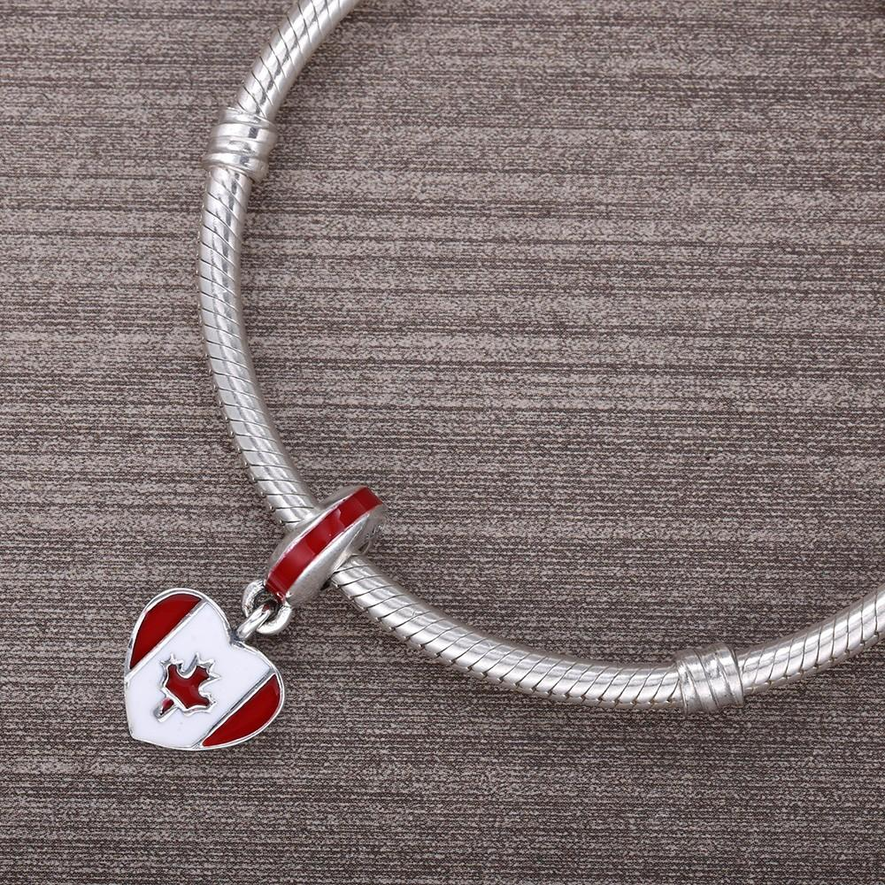 Canadian Flag Silver Heart Charm With Red & White Enamel - Nation Love