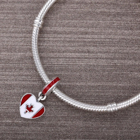 Canadian Flag Silver Heart Charm With Red & White Enamel