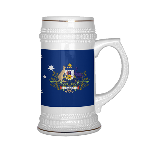 Australian Coat of Arms 22oz Beer Mug, Beer Stein