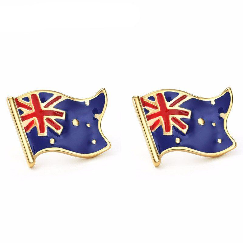 Earrings - Enamel And Gold Australian Flag Stud Earrings