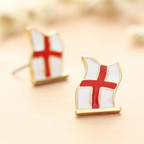 Earrings - Enamel And Gold English Flag Stud Earrings