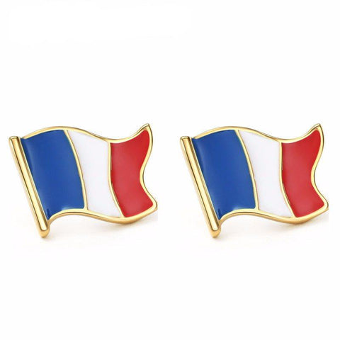 Earrings - Enamel And Gold French Flag Stud Earrings