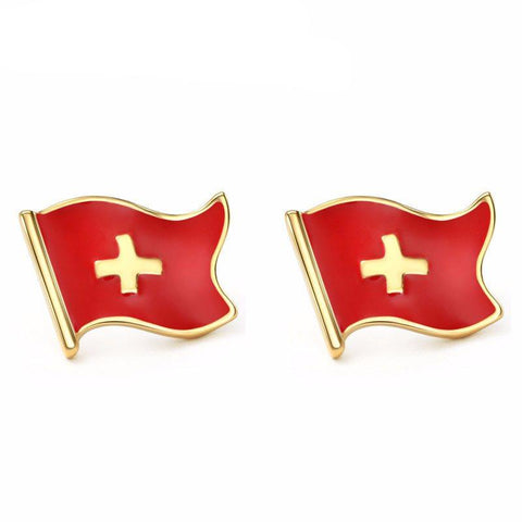 Earrings - Enamel And Gold Swiss Flag Stud Earrings