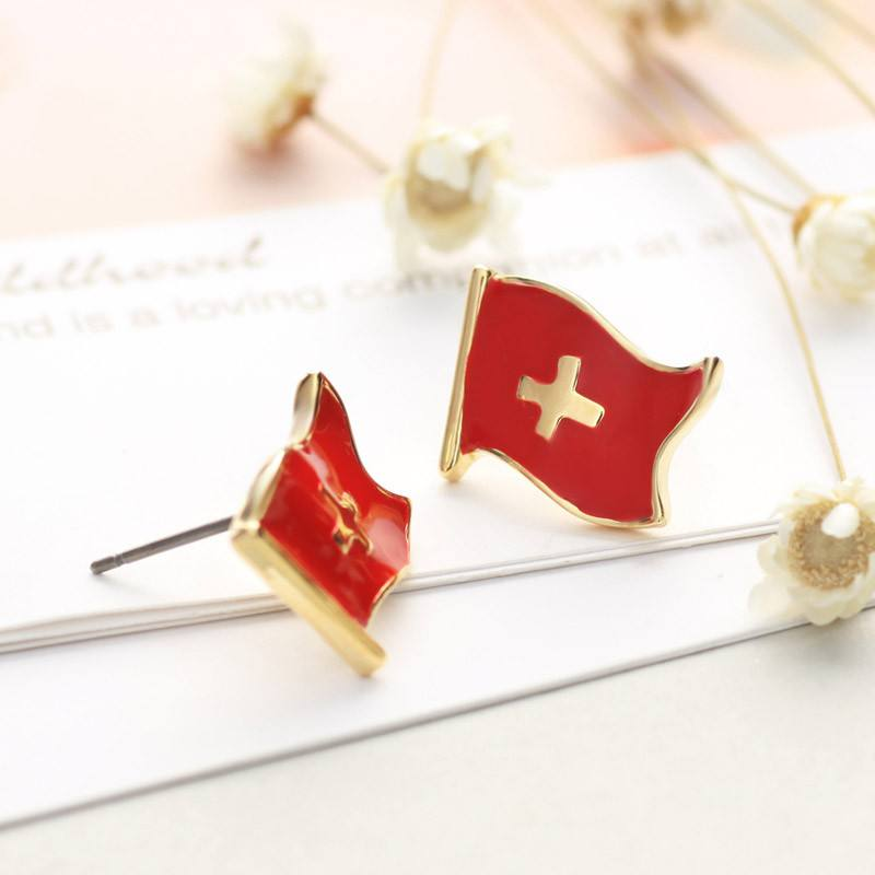 Enamel and Gold Swiss Flag Stud Earrings - Nation Love