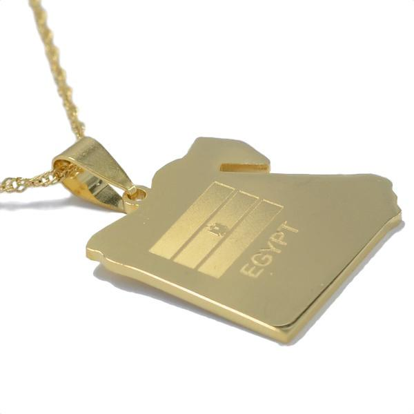 Egypt Gold Map Outline Pendant Necklace - Nation Love