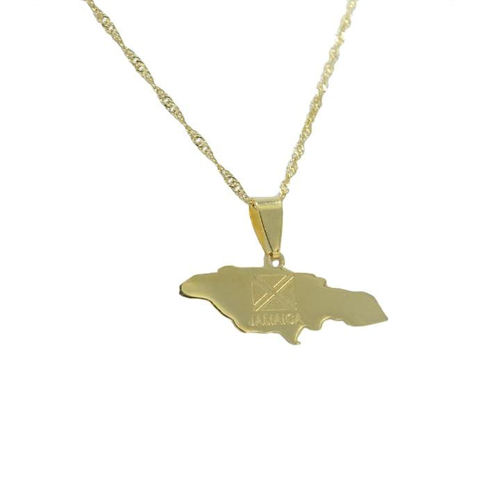 Jamaica Gold Map Outline Pendant Necklace - Nation Love