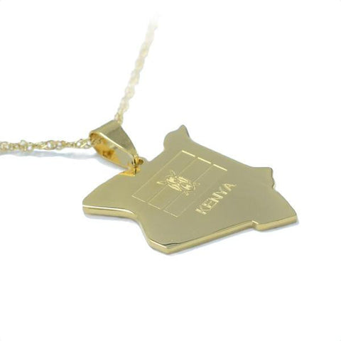 Kenya Gold Map Outline Pendant Necklace - Nation Love