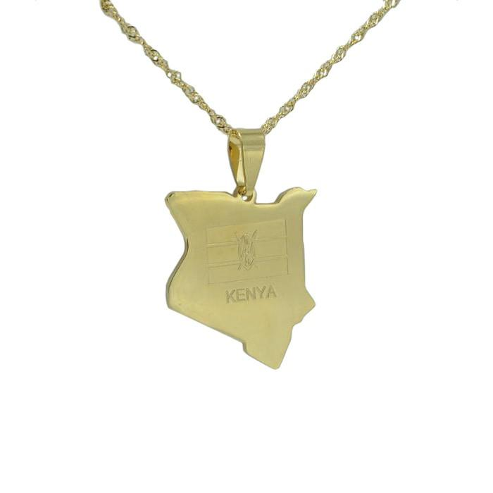 Kenya Gold Map Outline Pendant Necklace