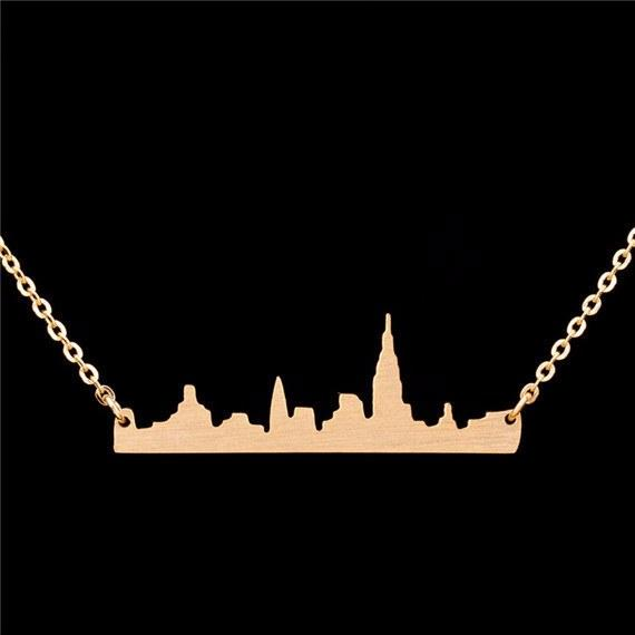 Necklace - New York City Miniature Skyline Necklace [Silver, Gold Or Rose Gold]