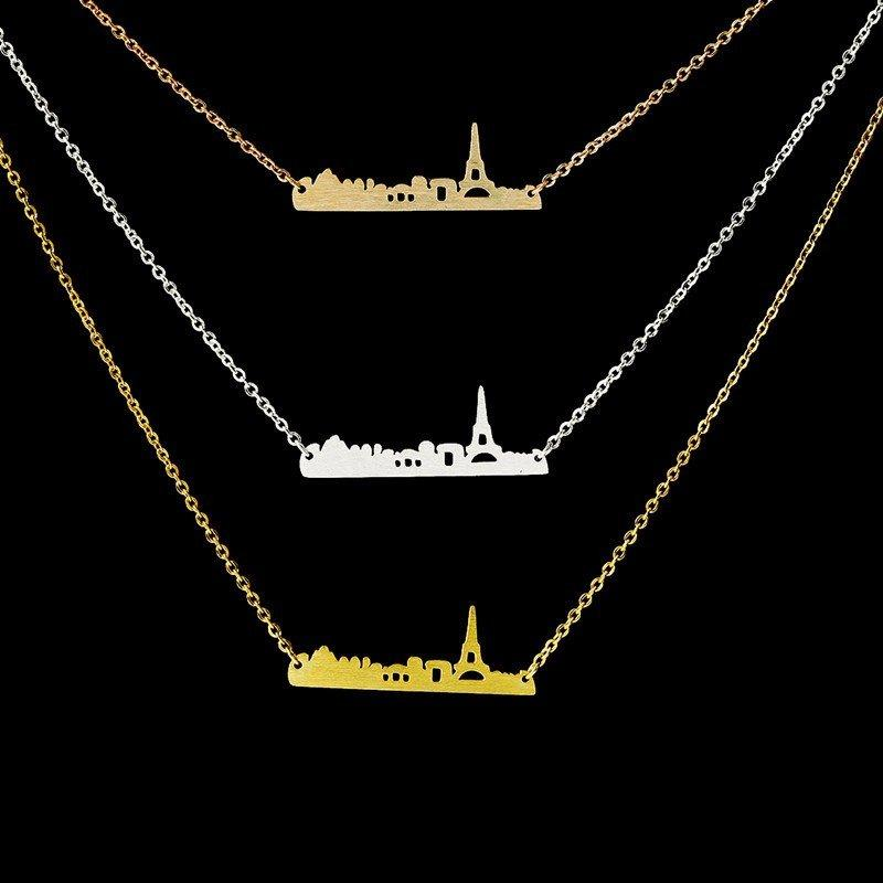 Necklace - Paris Miniature Skyline Necklace [Silver, Gold Or Rose Gold]