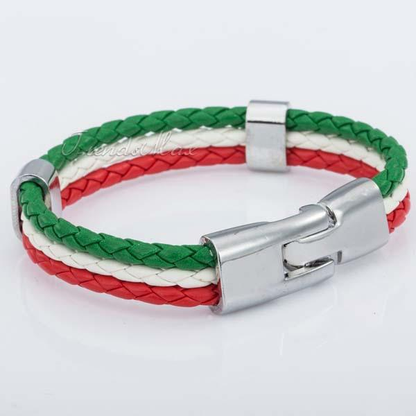 Mexican Flag Leather Bracelet [one size] - Nation Love