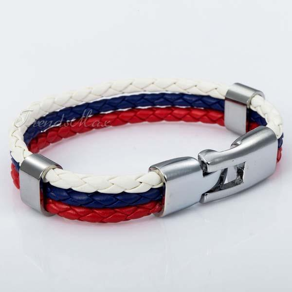 Russian Flag Leather Bracelet [one size] - Nation Love