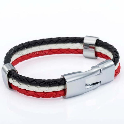 Egyptian Flag Leather Bracelet [one size] - Nation Love