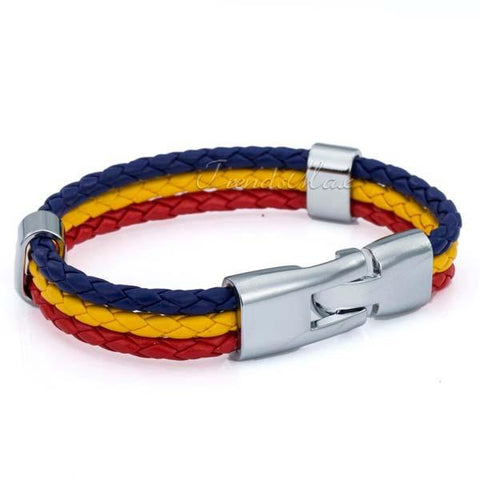 Romanian Flag Leather Bracelet [one size] - Nation Love